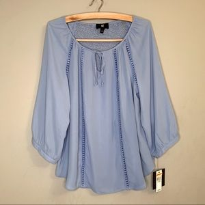 IZ byer lace back detail bishop sleeve blouse L